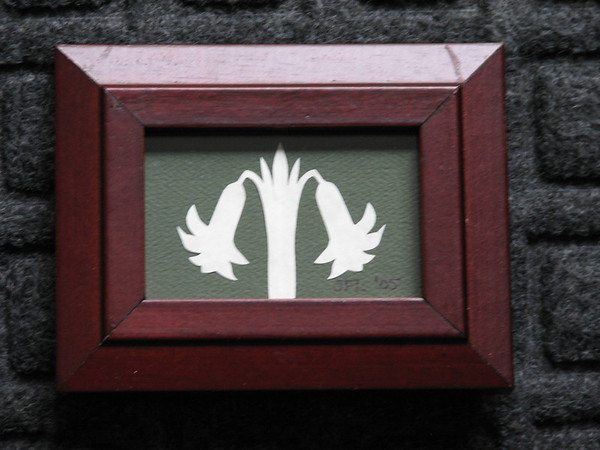 """Title: """"Small Lily"""" - Framed Hand Cut Parchment <br /> Size: 2x3<br /> Price:$6 Plus Tax -S&H<br /> Email Your Order: JanetLynchArt@gmail.com"""