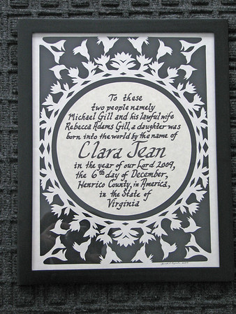 "Title: ""Birth Announcement"" - Hand Cut Parchment - Hand Calligraphy<br /> Size: 11x14<br /> Price:$69 Plus Tax -S&H<br /> Email Your Order: JanetLynchArt@gmail.com"