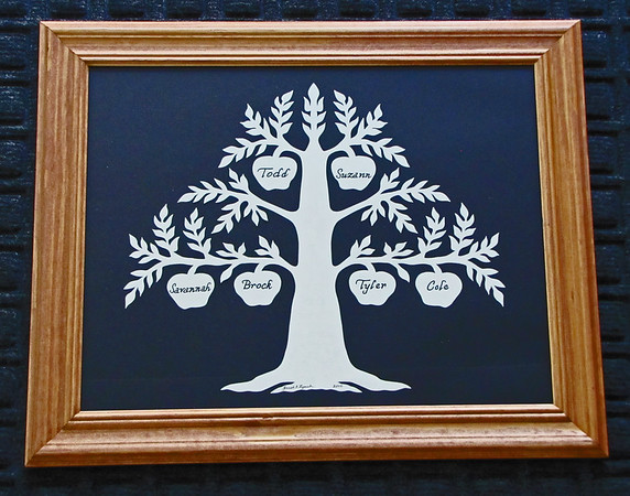 "Title: "" Family Tree "" - Hand Cut Parchment - By Janet Lynch<br /> Size:  10x13<br /> Price: Starting At $49 Plus Tax -S&H<br /> Email Janet Lynch Your Order: ArtGalleryRiverRd@gmail.com"