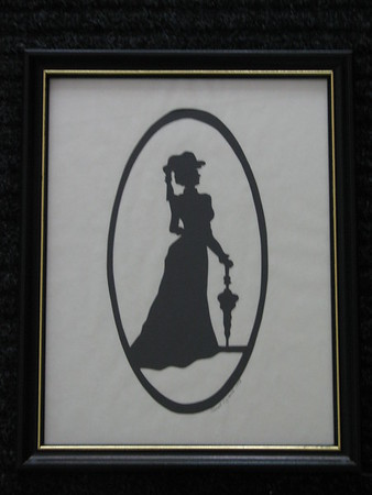 """Title: """"Victorian Silhouette-Lady"""" -Framed Hand Cut Black Paper  Size: 8.5x11 Price: Price: $29 - or- $49 for the set of 2 Email Your Order: JanetLynchArt@gmail.com"""