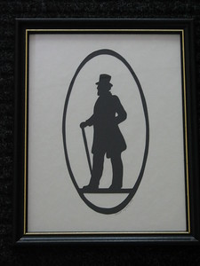 "Title: ""Victorian Silhouette-Gentleman"" -Framed Hand Cut Black Paper  Size: 8.5x11 Price: $29 - or- $49 for the set of 2 Email Your Order: JanetLynchArt@gmail.com"