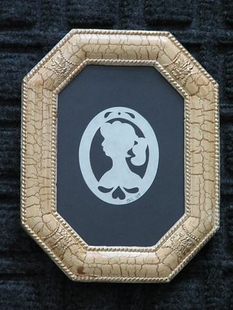 "Title: ""Victorian Silhouette"" - Hand Cut Parchment <br /> Size: 3.5x5<br /> Price:$10 Plus Tax -S&H<br /> Email Your Order: JanetLynchArt@gmail.com"