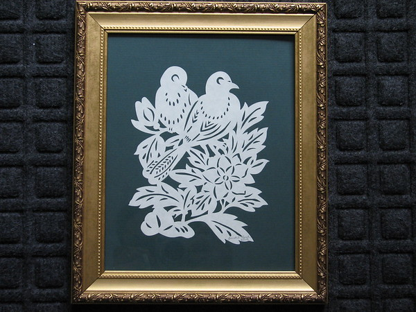 """Title: """"Love Doves"""" - Framed Hand Cut Parchment <br /> Size: 8x10<br /> Price:$49 Plus Tax -S&H<br /> Email Your Order: JanetLynchArt@gmail.com"""