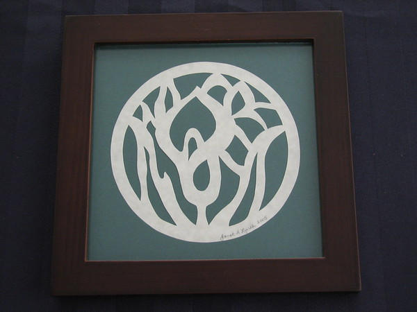 """Title: """"Calla Lily"""" - Framed Hand Cut Parchment <br /> Size: 6x6<br /> Price:$15 Plus Tax -S&H<br /> Email Your Order: JanetLynchArt@gmail.com"""