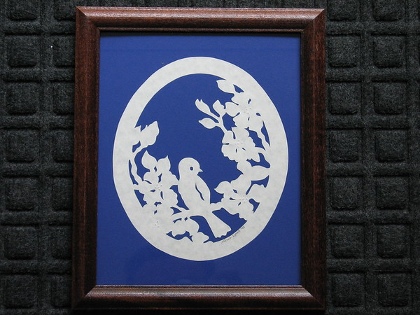 """Title: """"Blue Bird In Dogwood"""" - Framed Hand Cut Parchment <br /> Size: 8x10<br /> Price:$29  Plus Tax -S&H<br /> Email Your Order: JanetLynchArt@gmail.com"""