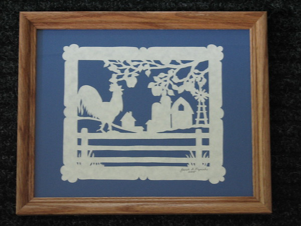 """Title: """"Rooster On Fence"""" - Framed Hand Cut Parchment <br /> Size: 8x10<br /> Price:$39 Plus Tax -S&H<br /> Email Your Order: JanetLynchArt@gmail.com"""