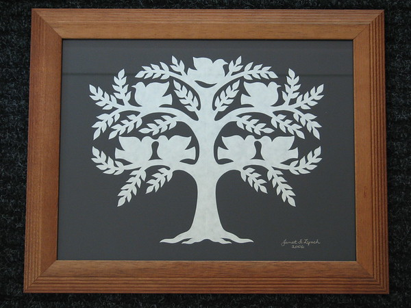 """Title: """"Family Tree"""" -Framed Hand Cut Parchment (Names In Handwritten Calligraphy - Also Available With Apples)<br /> Size: 11x14<br /> Price: Starting At $49 plus tax S&H<br /> Email Your Order: JanetLynchArt@gmail.com"""