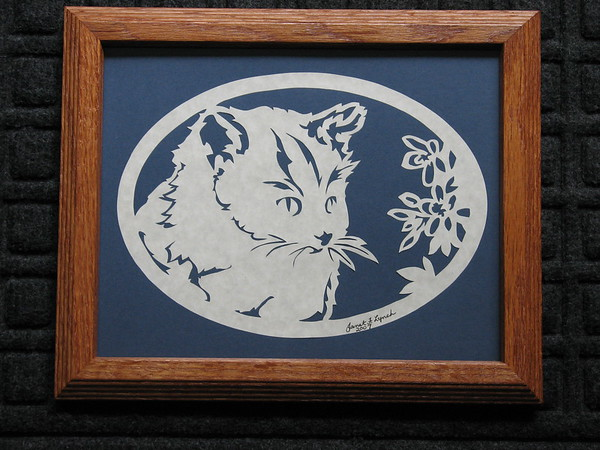 """Title: """"Cat And Flowers"""" - Framed Hand Cut Parchment <br /> Size: 8.5x11<br /> Price:$35  Plus Tax -S&H<br /> Email Your Order: JanetLynchArt@gmail.com"""
