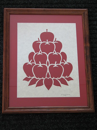 """Title: """"Stacked Apples"""" - Framed Hand Cut Parchment <br /> Size: 11x14<br /> Price:$35 Plus Tax -S&H<br /> Email Your Order: JanetLynchArt@gmail.com"""