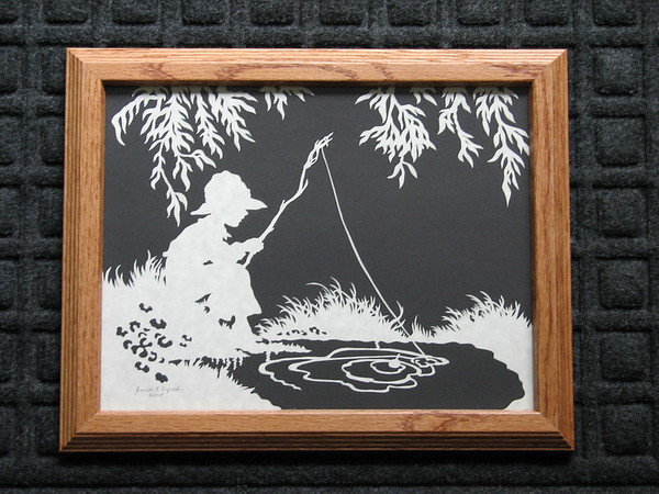 "Title: ""Little Boy Fishing"" - Framed Hand Cut Parchment <br /> Size: 8.5x11<br /> Price:$55  Plus Tax -S&H<br /> Email Your Order: JanetLynchArt@gmail.com"