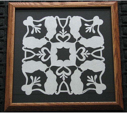 """Title: """"Alex's Cats"""" - Framed Hand Cut Quilt Pattern <br /> Size: 14x14<br /> Price:$49 Plus Tax -S&H<br /> Email Your Order: JanetLynchArt@gmail.com"""