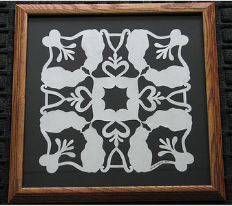"Title: ""Alex's Cats"" - Framed Hand Cut Quilt Pattern  Size: 14x14 Price:$49 Plus Tax -S&H Email Your Order: JanetLynchArt@gmail.com"