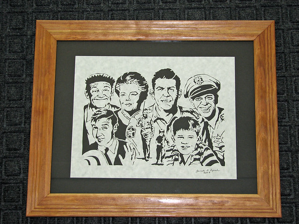 """Title: """"Andy Griffith Cast """" - Framed Hand Cut Parchment <br /> Size: 11x14<br /> Price:$135 Plus Tax -S&H<br /> Email Your Order: JanetLynchArt@gmail.com"""