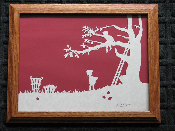 "Title: ""Boy And Girl Picking Apples"" - Framed Hand Cut Parchment <br /> Size: 8.5x11<br /> Price:$49  Plus Tax -S&H<br /> Email Your Order: JanetLynchArt@gmail.com"