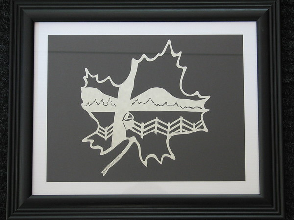 """Title: """"VA Maple Harvest"""" - Framed Hand Cut Parchment <br /> Size: 11x14<br /> Price:$49 Plus Tax -S&H<br /> Email Your Order: JanetLynchArt@gmail.com"""