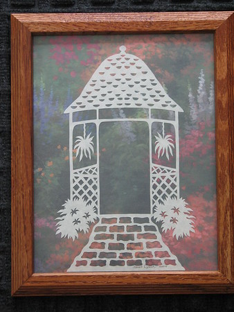 """Title: """"Wedding Gazebo"""" - Hand Cut Parchment - Hand Calligraphy<br /> Size: 8.5x11<br /> Price:$49 Plus Tax -S&H<br /> Email Your Order: JanetLynchArt@gmail.com"""