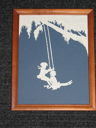 """Title: """"Kids On Swing"""" -Framed Hand Cut Parchment  <br /> Size: 8.5x11<br /> Price: $35<br /> Email Your Order: JanetLynchArt@gmail.com"""