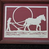 "Title: ""Man Plowing With Horse"" - Framed Hand Cut Parchment <br /> Size: 8x10<br /> Price:$25 Plus Tax -S&H<br /> Email Your Order: JanetLynchArt@gmail.com"