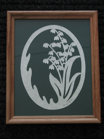 """Title: """"Lily Of The Valley"""" - Framed Hand Cut Parchment <br /> Size: 8x10<br /> Price:$25 Plus Tax -S&H<br /> Email Your Order: JanetLynchArt@gmail.com"""