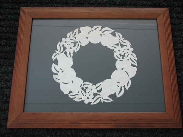 """Title: """"Ring Of Fruit"""" - Framed Hand Cut Parchment <br /> Size: 10x13<br /> Price:$39 Plus Tax -S&H<br /> Email Your Order: JanetLynchArt@gmail.com"""