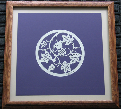 "Title: ""Grapes"" - Framed Hand Cut Parchment <br /> Size: 14x14<br /> Price:$49 Plus Tax -S&H<br /> Email Your Order: JanetLynchArt@gmail.com"