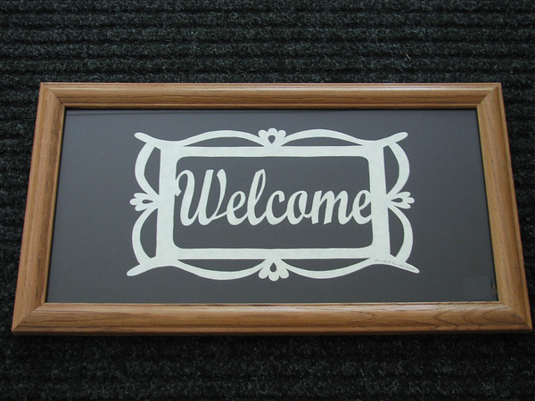 "Title: ""Welcome"" - Framed Hand Cut Parchment <br /> Size: 8x16<br /> Price:$39 Plus Tax -S&H<br /> Email Your Order: JanetLynchArt@gmail.com"