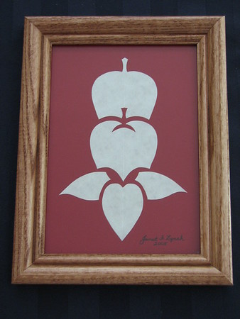 "Title: ""Stacked Apples"" - Framed Hand Cut Parchment <br /> Size: 5x7<br /> Price:$12 Plus Tax -S&H<br /> Email Your Order: JanetLynchArt@gmail.com"