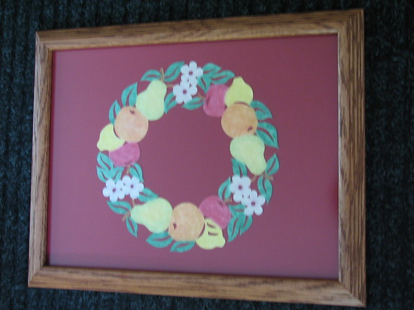 """Title: """"'Ring Of Fruit - Colored Pastels """" - Framed Hand Cut Parchment <br /> Size: 10x13<br /> Price:$49 Plus Tax -S&H<br /> Email Your Order: JanetLynchArt@gmail.com"""