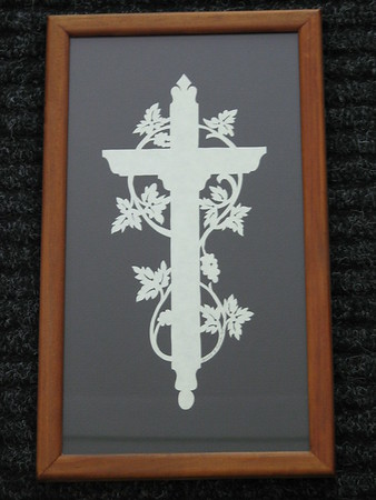 "Title: ""Cross With Vine"" -Framed Hand Cut Parchment  <br /> Size: 6x11<br /> Price: $29 <br /> Email Your Order: JanetLynchArt@gmail.com"