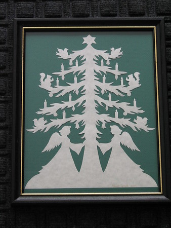 """Title: """"Angel Tree"""" -Framed Hand Cut Parchment  <br /> Size: 8.5x11<br /> Price: $25 Plus Tax -S&H<br /> Email Your Order: JanetLynchArt@gmail.com"""