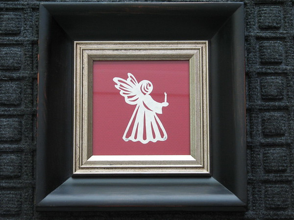 "Title: ""Angel With Candle"" -Framed Hand Cut Parchment  <br /> Size: 5x5<br /> Price: $25 Plus Tax -S&H<br /> Email Your Order: JanetLynchArt@gmail.com"