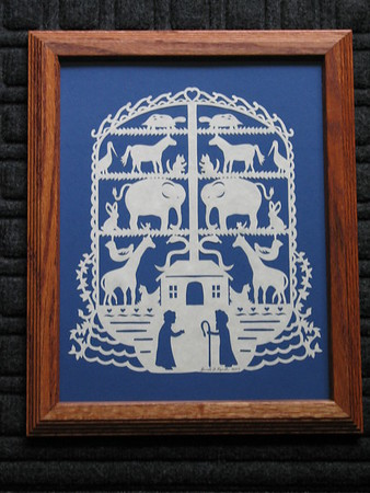 """Title: """"Noah's Ark #2"""" - Framed Hand Cut Parchment <br /> Size: 8.5x11<br /> Price:$55  Plus Tax -S&H<br /> Email Your Order: JanetLynchArt@gmail.com"""