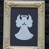 "Title: ""Medium Angel"" -Framed Hand Cut Parchment  <br /> Janet's Original Design<br /> Size: 3.5x5<br /> Price: $10 Plus Tax -S&H<br /> Email Your Order: JanetLynchArt@gmail.com"