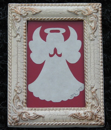 "Title: ""Angel"" - Framed Hand Cut Parchment <br /> Size: 2x3<br /> Janet's Original Design<br /> Price:$6  Plus Tax -S&H<br /> Email Your Order: JanetLynchArt@gmail.com"