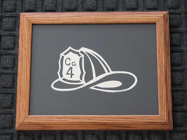 """Title: """"Co 4 Helmet"""" - Framed Hand Cut Parchment (Your Company Available) Size: 8.5x11 Price:$29 Plus Tax -S&H Email Your Order: JanetLynchArt@gmail.com"""
