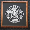 "Title: ""Fireman's Plaque "" -Framed Hand Cut Parchment  <br /> Size: 14x14 Square<br /> Difficulty 6 of 10<br /> Price: $79 Plus Tax -S&H<br /> <br /> Buy This Item: <a href=""http://www.etsy.com/listing/43544602/firemans-plaque-scherenschnitte-hand"">http://www.etsy.com/listing/43544602/firemans-plaque-scherenschnitte-hand</a><br /> <br /> Fireman's Plaque -Scherenschnitte - Hand Paper Cutting Art signed dated by Janet Lynch framed 14x14 - FREE U.S.Ship with another item.<br /> <br /> Scherenschnitte (hand paper cutting)<br /> Signed and dated by Janet Lynch framed 14x14<br /> <br /> Water Mark will not appear on your art order<br /> <br /> ~This paper cutting and all Scherenschnitte Art listed in my shop available as a beautiful print NoteCard. $3.95 ea or $2.95 ea if you order 10 mix or match <a href=""http://www.etsy.com/listing/71810088/note-cards-5x7-choose-any-photo-or-paper"">http://www.etsy.com/listing/71810088/note-cards-5x7-choose-any-photo-or-paper</a><br /> <br /> ~THIS ITEM SHIPS FREE IN US AND CANADA IF SHIPPED WITH ANY OTHER PURCHASE<br /> <br /> ~Have a special size or request? Just CLICK ON CONTACT AT THE BOTTOM and we'll see what we can work out.<br /> <br /> All images are copyright protected and the exclusive property of Janet Lynch and may not be used without permission.<br /> <br /> JanetLynchArt@gmail.com"