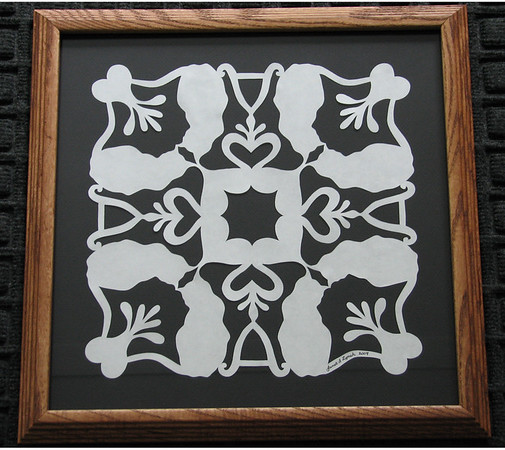 """Title: """"Alex's Cats"""" - Framed Hand Cut Quilt Pattern  Size: 12x12 Difficulty : 5 of 10 Price:$49 Plus Tax -S&H Email Your Order: JanetLynchArt@gmail.com Frames may vary depending on available stock"""