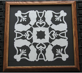 "Title: ""Alex's Cats"" - Framed Hand Cut Quilt Pattern  Size: 12x12 Difficulty : 5 of 10 Price:$49 Plus Tax -S&H Email Your Order: JanetLynchArt@gmail.com Frames may vary depending on available stock"