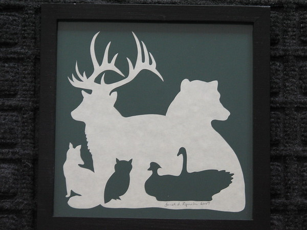 "Title: ""Maymont Animals"" - Framed Hand Cut Parchment <br /> Size: 6.5x6.5<br /> Price:$29  Plus Tax -S&H<br /> Email Your Order: JanetLynchArt@gmail.com"