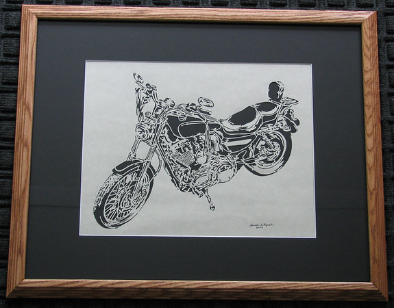 """Title: """"Motorcycle"""" - Framed Hand Cut Parchment  Size: 16x20 Price:$135  Plus Tax -S&H Email Your Order: JanetLynchArt@gmail.com"""