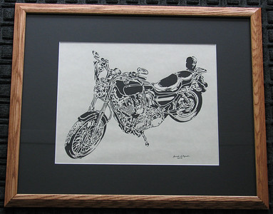 "Title: ""Motorcycle"" - Framed Hand Cut Parchment  Size: 16x20 Price:$135  Plus Tax -S&H Email Your Order: JanetLynchArt@gmail.com"