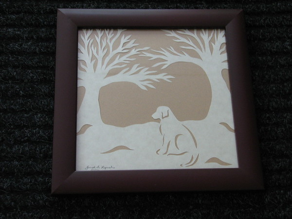 "Title: ""Lab"" - Framed Hand Cut Parchment - Janet's Original Design<br /> Size: 8.5x11<br /> Price:$29  Plus Tax -S&H<br /> Email Your Order: JanetLynchArt@gmail.com"