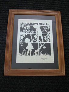 """Title: """"Boy & Girl Picking Grapes """" - Framed Hand Cut Parchment  Size: 11x14 Price:$59 Plus Tax -S&H Email Your Order: JanetLynchArt@gmail.com"""