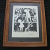 "Title: ""Boy & Girl Picking Grapes "" - Framed Hand Cut Parchment 