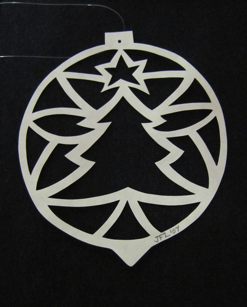 "Title: "" Christmas Tree Ball "" - Hand Cut Parchment Price: $10 This item ships free in U.S. and Canada when shipped with an equal or lesser item  ~ Scherenschnitte (hand paper cutting) Christmas Ornament Signed and dated by Janet Lynch  ~ All Christmas ornaments can be personalized with names in Calligraphy Water Mark will not appear on your art order  ~Want this as a print on a 5x7 Note Card? http://www.etsy.com/listing/71810088/note-cards-5x7-choose-any-photo-or-paper  ~ Want this as a print on a jewelry pendant? http://www.etsy.com/listing/74448914/cape-hatteras-lighthouse-fine-art  ~ Special Custom requests welcome.....just email me and I will do my best to work with you. If you have a theme or particular interest I am sure I have a design for you......or I will design one just for you.  ~Visit our shop to see all my hand cut Scherenschnitte Art, Fine Art Photography, Prints, Christmas Ornaments, Bookmarks, Note Cards, Photo Pendants, Jewelry: http://artgalleryriverrd.etsy.com"