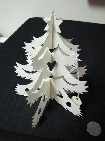 Christmas Decorations - Scherenschnitte - Hand Paper Cutting Art signed and dated By Janet Lynch  $19.00