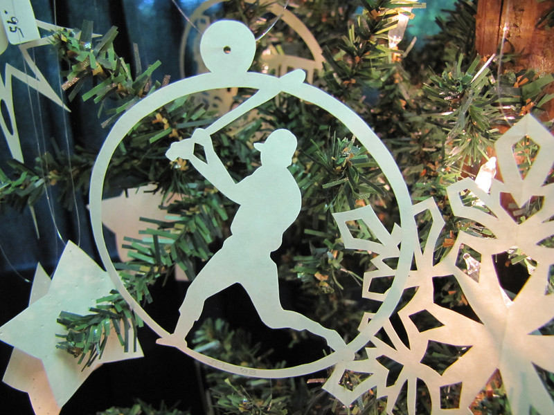 "Title: ""Sports"" - Most Sports Available - Hand Cut Parchment Price: $6 This item ships free in U.S. and Canada when shipped with an equal or lesser item  Buy This Item: http://www.etsy.com/listing/79688629/christmas-ornaments-scherenschnitte-hand  ~ Scherenschnitte (hand paper cutting) Christmas Ornament Signed and dated by Janet Lynch  ~ All Christmas ornaments can be personalized with names in Calligraphy Water Mark will not appear on your art order  ~Want this as a print on a 5x7 Note Card? http://www.etsy.com/listing/71810088/note-cards-5x7-choose-any-photo-or-paper  ~ Want this as a print on a jewelry pendant? http://www.etsy.com/listing/74448914/cape-hatteras-lighthouse-fine-art  ~ Special Custom requests welcome.....just email me and I will do my best to work with you. If you have a theme or particular interest I am sure I have a design for you......or I will design one just for you."