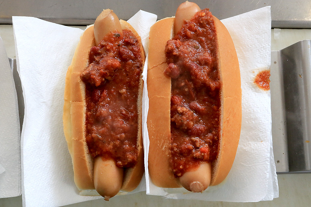 . Janet\'s Chili Dogs in Fitchburg is one of the local seasonal eateries in the North Central MA region. Two of her chili dogs. SENTINEL & ENTERPRISE/JOHN LOVE