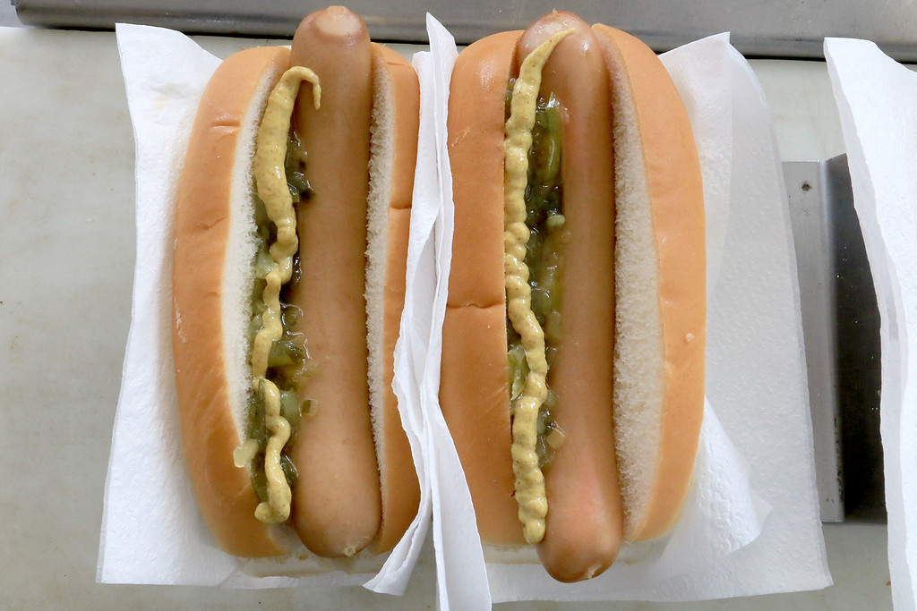 . Janet\'s Chili Dogs in Fitchburg is one of the local seasonal eateries in the North Central MA region. Two of her hotdogs with mustard and relish. SENTINEL & ENTERPRISE/JOHN LOVE
