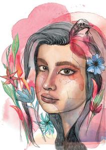 Grace Watercolor_painting_artist_portrait_contemporary_janna_Coumoundouros